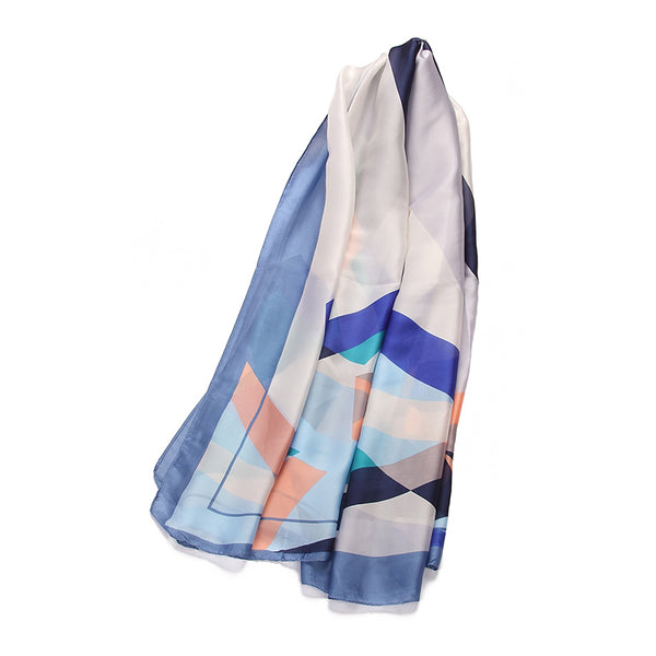 Overlapping Triangle Print Scarf - Blue