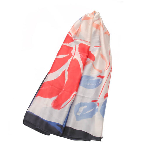 Watercolour Floral Print Scarf - Red
