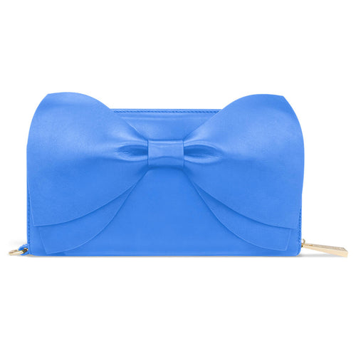 The Leather Bow Clutch - Marina Blue