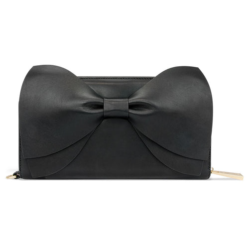 The Leather Bow Clutch - Raven Black