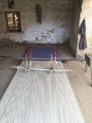 on the loom ready for weaving