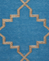 Zanjeer Cotton Rug - Turquoise and Gold