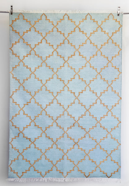 Zanjeer Cotton Rug - Sea Green and Gold