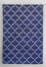 Zanjeer Cotton Rug - Blue and Silver