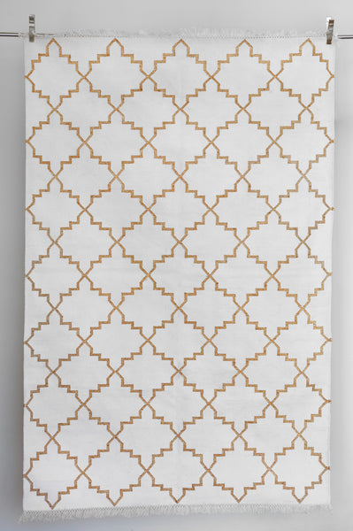 Zanjeer Cotton Rug - Gold on White