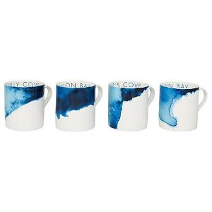 Mugs (Set of 4) Harlyn Bay, Treyarnon Bay, Hawkers Cove, Porthilly Cove