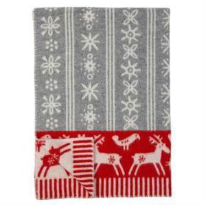 Klippan Lappland Light Grey/Red 100% Eco Lambswool Blanket