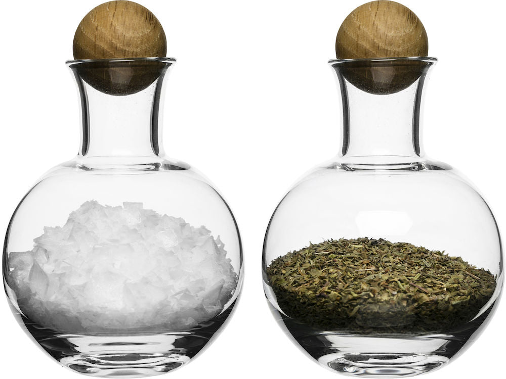 Nature - Oak/Glass Salt & Spice Set