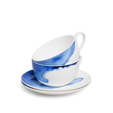 Cappuccino Cups & Saucers - Set Of 2