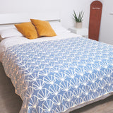 Powder Blue Shell Recycled Cotton Blanket - Super King 160 x 250cm