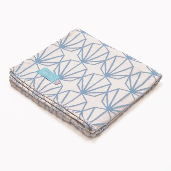 Powder Blue Shell Recycled Cotton Blanket - Standard 160 x 110cm