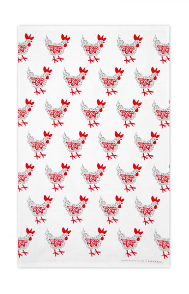 Jangneus White With Grey & Red Hen Repeat Printed Pattern Cotton Tea Towel