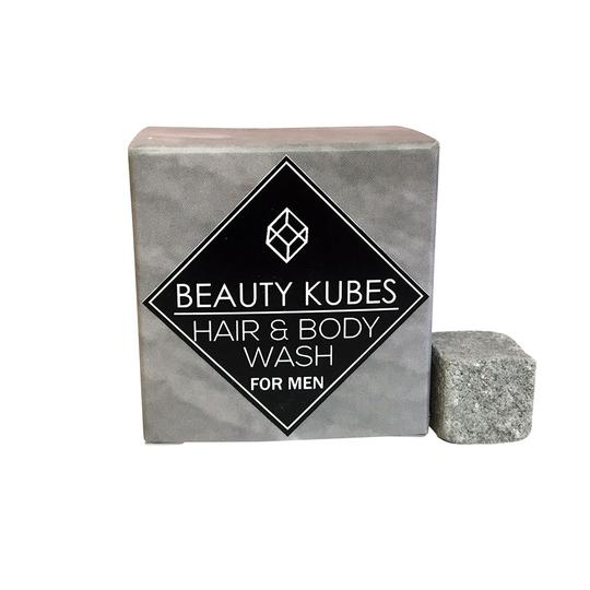 Beauty Kubes Hair and body wash for men. Grey box contains 27 cubes. Plastic free, vegan, organic skincare.