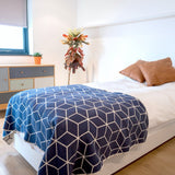 Navy Geometric Recycled Cotton Blanket - Standard 160 x 110cm