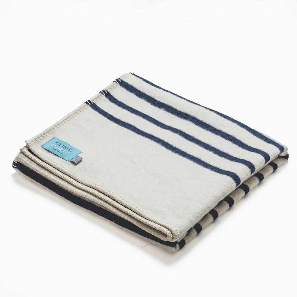 Navy Stripe Recycled Cotton Blanket - Standard 160 x 110cm