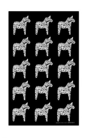 Jangneus Swedish Black Dala Horse Cotton Tea Towel