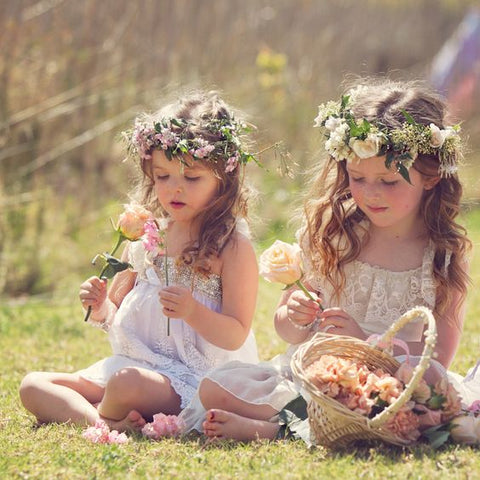 Boho flower girls children at weddings by Francis Bridal