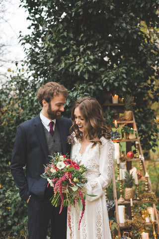 Bride and groom in outdoor styled shoot
