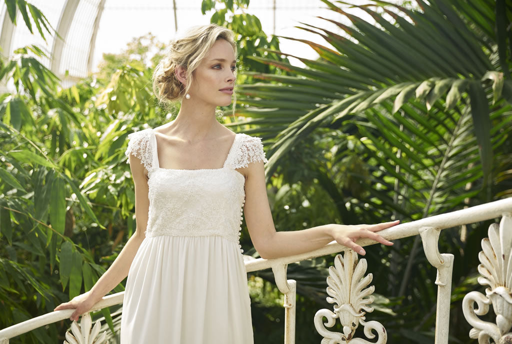 Beaumont Dress by Francis Bridal, silk georgette wedding dress with embroidered lace bodice