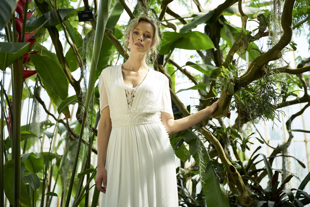 Valence Dress, a modern wedding dress made from silk georgette gathered into a beaded lace waistband by Francis Bridal