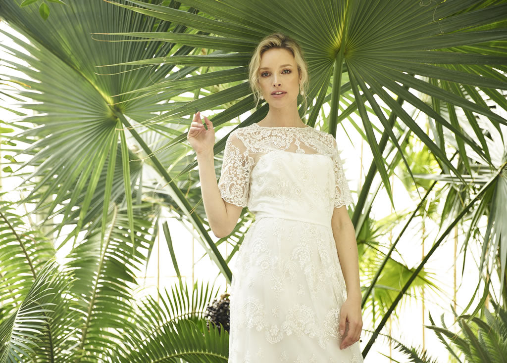 Albi Dress, lace wedding dress with short sleeves by Francis Bridal