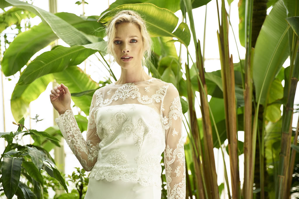 Lourdes Top, lace long sleeved wedding top by Francis Bridal