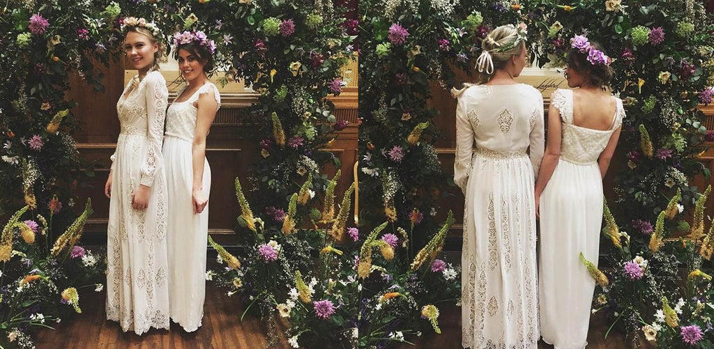Boho wedding dresses under a floral arch in Islington, London 2017