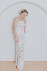 Avalon dress from the Practical Romantics collection by Francis Bridal.  Fitted sleeveless lace wedding dress with shoes trip straps