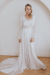Prosper Gown from the Practical Romantics Collection.  Long sleeved wedding dress with full skirt, train and lace inserts