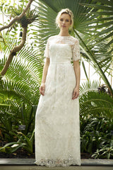 Simple boho lace maxi wedding dress with sleeves