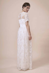 Boho lace maxi wedding dress with sleeves