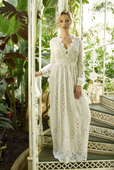 Embroidered bohemian wedding dress