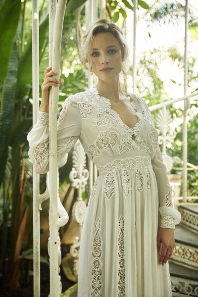 Embroidered lace boho maxi wedding dress detail view