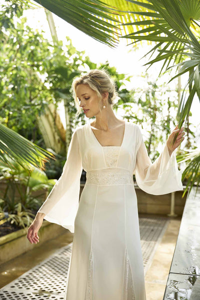 Etienne Dress, a silk georgette maxi dress with lace inserts and kimono sleeves boho wedding dress by Francis Bridal