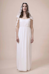 Faith Veil, a beautiful floor length tulle wedding veil with guipere lace edging by Francis Bridal