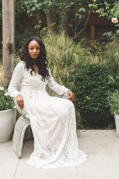 Long sleeved lace boho wedding dress