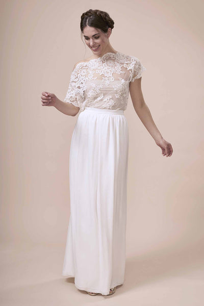Sainte Skirt, silk georgette maxi skirt with fitted waistband for modern boho brides by Francis Bridal