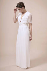 Simple modern wedding dress with sleeves