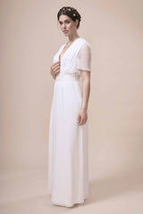 Simple modern wedding dress made from silk georgette