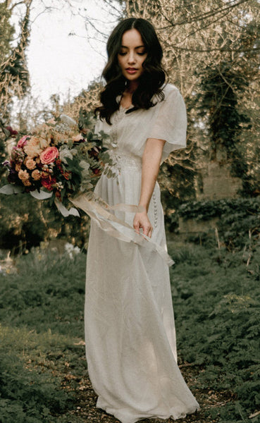 simple silk georgette wedding dress with sleeves