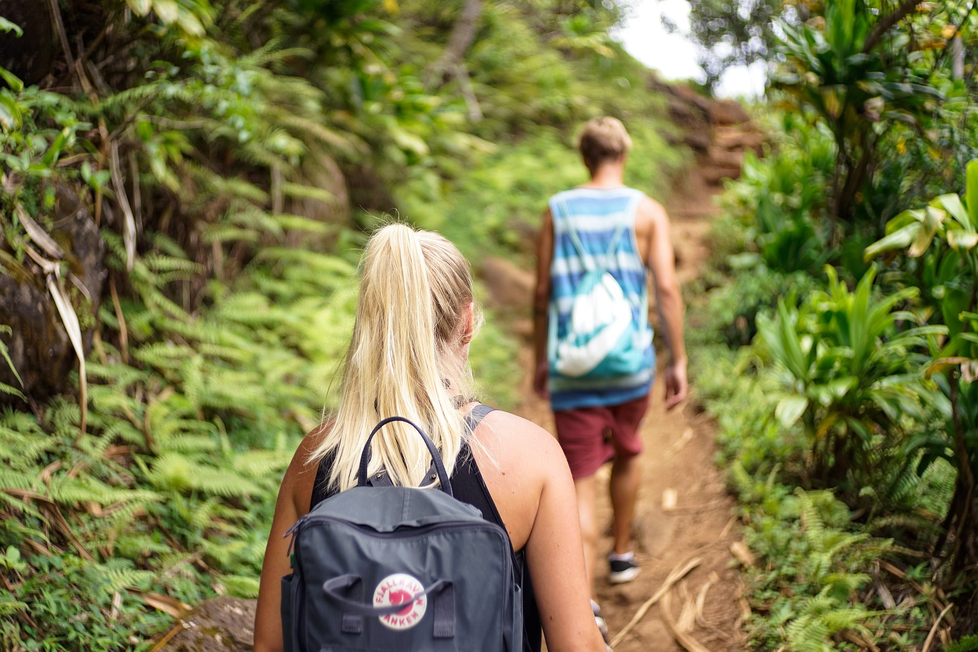 Couple going on a hike
