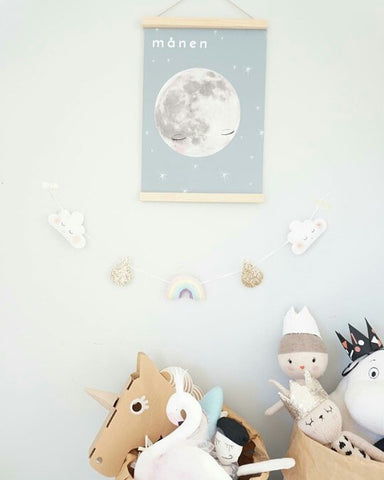 Moon Manen Scandinavian Wall Art Kids Decor