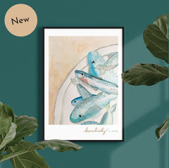 born lucky kids design charity watercolour sustainable fish
