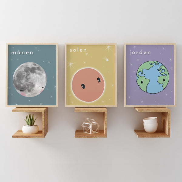Celestial Illustrations | Scandi Nursery Decor Wall Art | Born Lucky