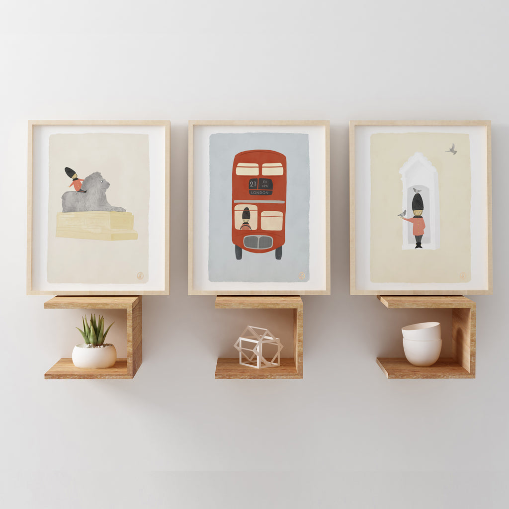 London Collection Lion Nursery Illustration Art Prints