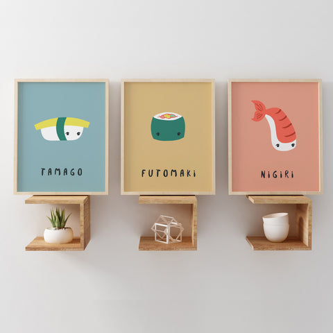 Art Prints | Nigiri SUSHI Illustration | Scandinavian Design | Born Lucky | Nursery