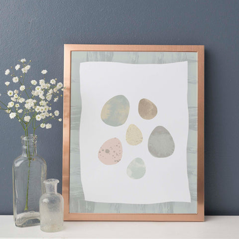 Birds Egg Illustration | Scandi Nursery Decor Wall Art | Born Lucky | Copper Frame