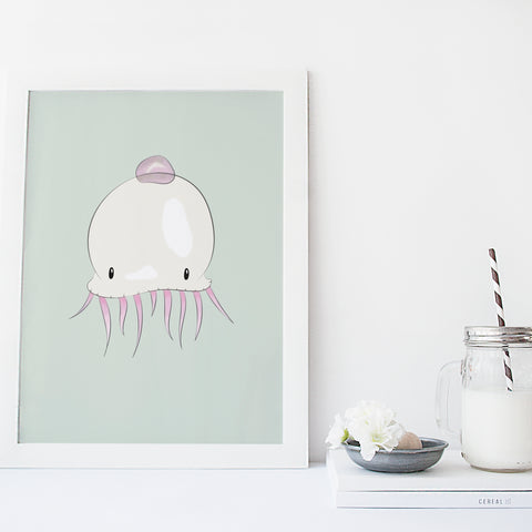 Nursery Art Prints | Jellyfish Illustration | Scandinavian Decor | Born Lucky