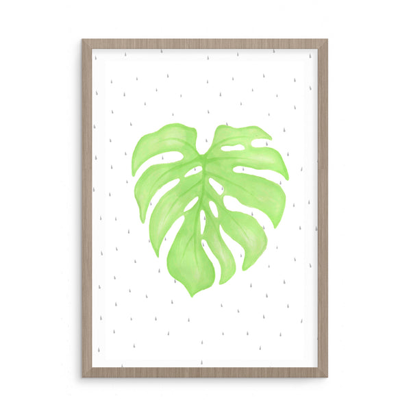 Cheeseplant Print | Scandinavian Nursery Decor Wall Art | Born Lucky | Brush Pen