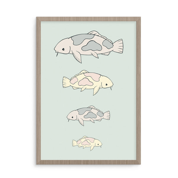 Nursery Art Prints | Koi Carp Poster | Scandinavian Decor | Born Lucky
